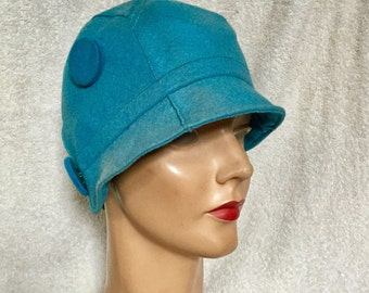 1920s Turquoise Blue Cloche Hat