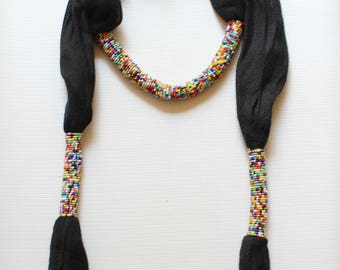 African scarf, Beaded scarf, Kenyan scarf, Fashion scarf, Women scarf, Beautiful scarf, Black scarf, Bead scarf