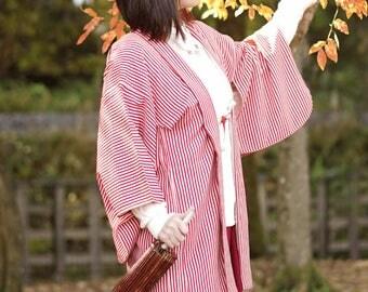 Red stripe Haori, Japanese kimono, womens haori