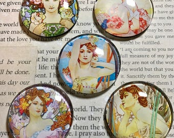 "MAGNETS - Alphonse Mucha, Art Nouveau, 1-1/2"" round glass magnets -- refrigerator/kitchen magnets, paperweights, or decor. FREE SHIPPING!"