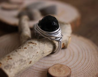 Ring - aluminum ring - Ring with onyx - Ring with stone - Ring with big stone - Ring with black stone - Ring with aluminum