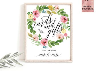 Floral Pink Cards and Gifts Table Sign, Printable 5x7 8x10 Wedding Table Sign, Script Font Wedding Table Sign, JPEG, PDF, Digital Download