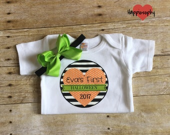 Baby Girl Personalized Halloween Onesie, First Halloween Outfit, Baby Girl Halloween Outfit, 1st Halloween Onesie, Stripe Onesie, Bodysuit