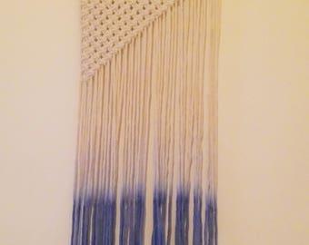 Dip dye ombre effect macrame wall hanging