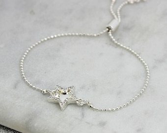 Personalised Double Star Bracelet - birthday - bridesmaid - sparkle - Gift for mum - mothers day
