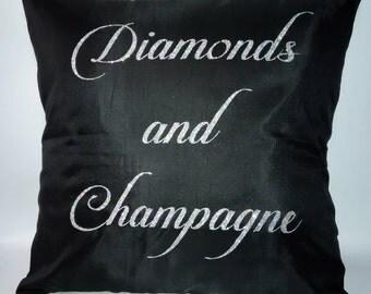 Throw Pillow - Accent Pillow - Diamonds and Champagne - College Dorm Décor - Wedding Gift - Bridesmaids Gift - Dorm Decor - Hostess Gift