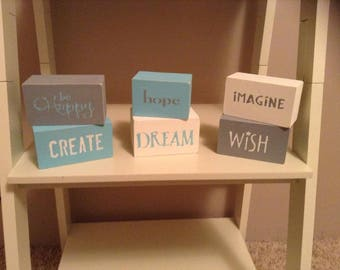Be Happy, Create, Hope, Dream, Imagine, Wish - Distressed Wooden Blocks Home Decor