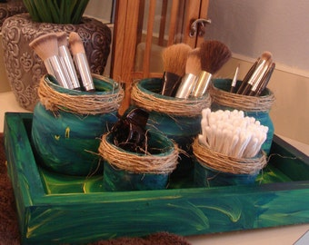 Aquarius Bath Storage | Tray + 5 Jars | Handpainted | Ocean Theme | Bathroom Storage | Makeup Brushes | Q-Tips Corralled | Raffia Toppers