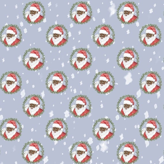 Black Santa Wrapping Paper