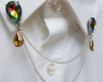Rainbow and Yellow Crystal Collar Chain Set