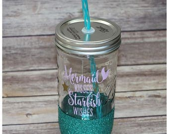 Mermaid Glitter Dipped Mason Jar Tumbler