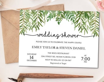 Wedding Shower Invitation, Fall Floral Bridal Shower Card, Couples Shower Invite, Editable Card Instant Download, Wedding Shower PDF #01