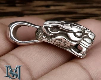 925 Sterling Silver Fierce Tribal Tiger Pendant Amulet