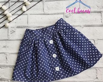 Girls Skirt, Polka Dot Skirt, Toddler Skirt, Denim Chambray Skirt, Blue/white polka dot, Polka Dot, Toddlers Skirt, Size 1 year
