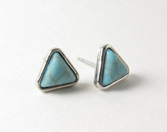 Turquoise Triangle Stud Earrings Silver Bezel Blue Green Stone Boho Fashion Jewelry Geometric Minimalist