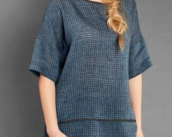 Lightweight LINEN BLOUSE - made in Europe - Blueish