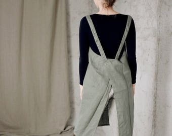 Linen apron - japanese apron - washed linen - available in 18 colors