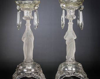 "Pair of Glass Candlesticks | Sacred Heart of Jesus | Immaculate Heart of Virgin Mary | Antique Candle Holders | 13""  Large 