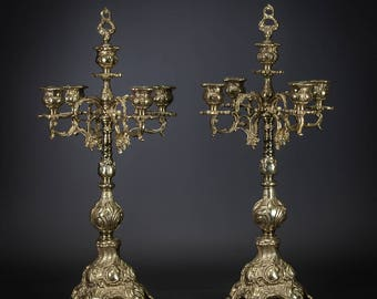 "21"" Stunning Pair of Antique Baroque Gilded Bronze 5 tier Arms Candelabras"