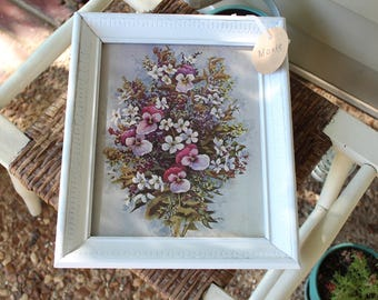 Vintage Framed Flower Art - Pansy Cosmos Painting - Textured White Wooden Frame