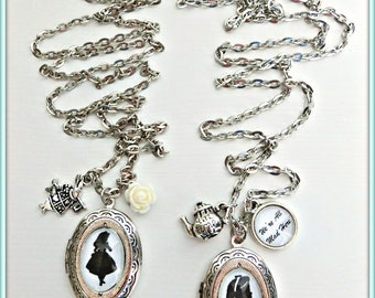 Alice in wonderland oval locket, We're all mad here locket, Silver oval locket, Mad hatter necklace, Alice in wonderland jewelry