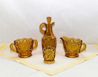 Vintage LE Smith Moon & Stars Amber Glass 4 pc Set, Cream /Sugar, Cruet, Toothpick Holder
