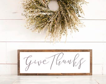 Give Thanks Sign | Give Thanks Wood Sign | Fall Signs | Thanksgiving Signs | Thanksgiving Wall Decor | Give Thanks Sign Wood