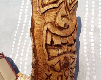 Tiki style wood carving. Hand carved from Silver Birch - 23cm tall and stained