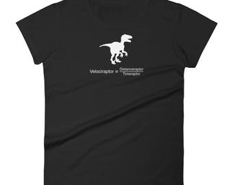 Funny dinosaur physics equation. Science Geek Women's T-shirt