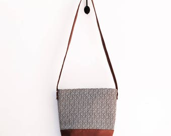 Cross Body Bag- Black and Gray Diamond Pattern, Geometric Pattern, Vegan Leather, Brown Bottom, Long Strap, Messenger Style Bag
