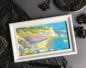 MINI Painting Sea Landscape Oil Painting Art Classical Painting Original Painting Art Gifts home decor framed seascape book shelf decor