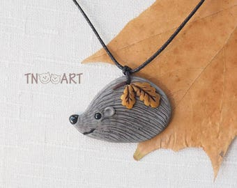 Cute Hedgehog Pendant /handmade polymer clay jewelry necklace autumn leaves