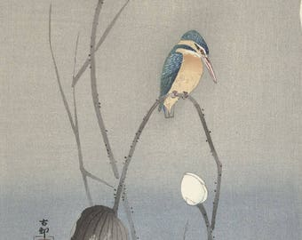 "Japanese Art Print ""Kingfisher with Lotus Flower"" by Ohara Koson, woodblock print reproduction, fine art, asian art, cultural art, floral"
