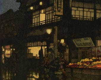 "Japanese Art Print ""Kagurazaka Dori (Night after Rain)"" by Yoshida Hiroshi, woodblock print reproduction, asian art, cultural art, city"