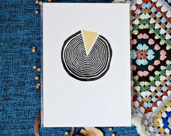 Handmade Lino Print in black ink with Gold Leaf // Run 1 - 1/10 (A4)