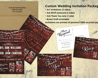 Rustic Country Wedding Invitation Set - Bridal Shower - Save the Date - Printable file or printed cards