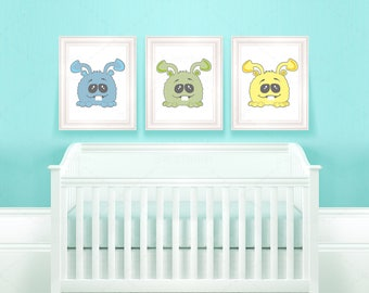 cute Monster • wall art • digital file • decoration • living room •  room decor •  baby shower • present  • blue • green • yellow • printing