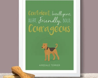 Airedale Terrier Personality Trait poster - Airedale Terrier lover gift, Airedale poster, Airedale print, dog poster, pet print, pet poster