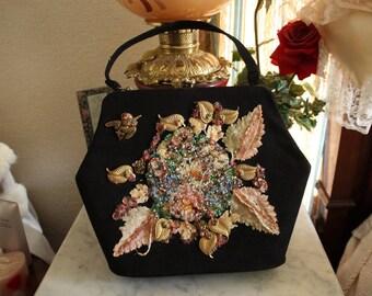 Vintage Black Velvet Purse by Veldore' of Houston