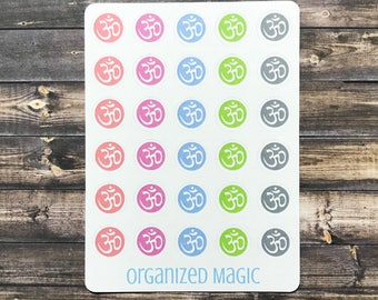 om planner stickers, mantra stickers, yoga stickers, meditation stickers