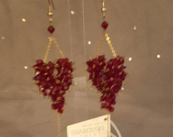 Swarovski Glamour earrings - Burlesque Cluster Red Siam