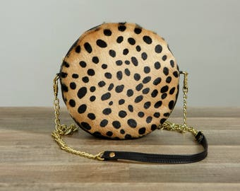 Monogrammed Cheetah Leather circle bag. Round Bag. Personalized Leather Anniversary. Third Anniversary gift for her. 3rd anniversary gift.