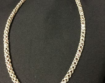 Sterling Silver Chainmaille Necklace with Swarovski Crystals