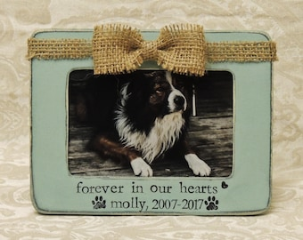 personalized loss of dog pet loss gift cat forever in our hearts picture frame gift sympathy - Dog Memorial Frame