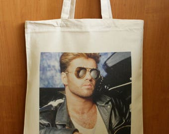 George Michael Tote Bag, George Michael Market Bag, George Michael Fan Gift, George Michael Print, 100% Cotton Tote Bag, Market Shopping Bag