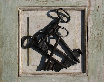 5 French antique forged iron Castle Keys | 1850s.