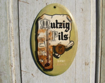 A rare French vintage centigrade advertising thermometer 1960s, Mutzig Pils.