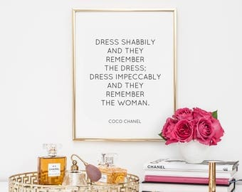 Dorm Decor, quotes, fashion quote, printable, inspirational quote, motivational quote, coco chanel quotes, office decor, dorm decor