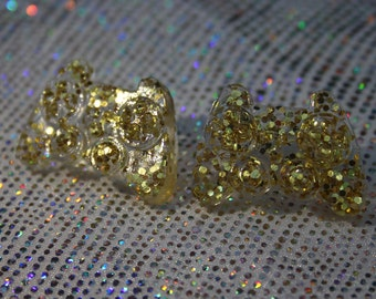 Gold Glitter Gamer Resin Controller Earrings