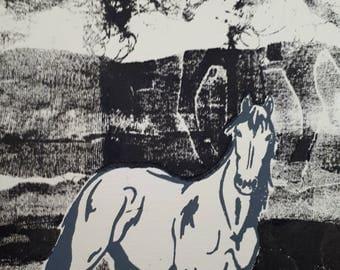 Horse, Black and White, etching, farm animals, figurative art, wall art